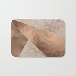 Copper Foil and Blush Rose Gold Marble Triangles Bath Mat