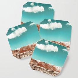 Vintage Red Rocks // Snow in the Mojave Desert Clouds Teal Sky Mountain Range Landscape Coaster