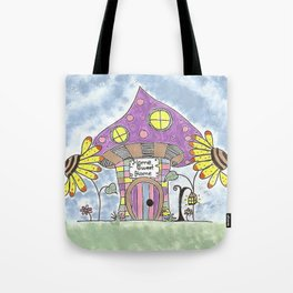 Whimsical Mushroom House Tote Bag