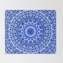 Blue Mandala Mehndi Style G403 Throw Blanket