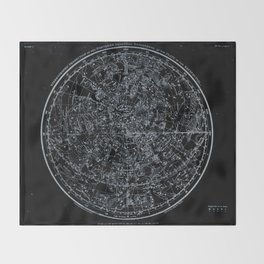 Northern Hemisphere Constellations White Blue Throw Blanket