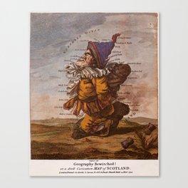 Vintage Illustrative Map of Scotland (1794) Canvas Print