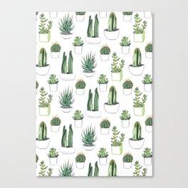 Watercolour Cacti & Succulents Canvas Print