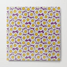 Purple Smiley Daisy Flower Pattern Metal Print
