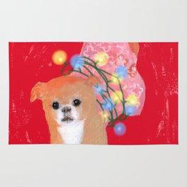 Dog in Pink Flower Dress Rug
