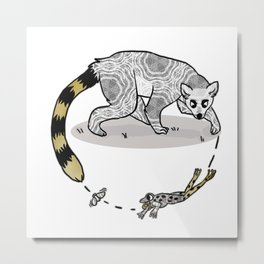 Ring Tailed Lemur, Frog & Fly, Funny Animal Illustration, Black and White Cute Lemur Graphic Design Metal Print