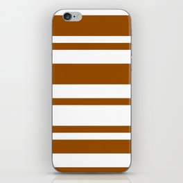 Mixed Horizontal Stripes - White and Brown iPhone Skin