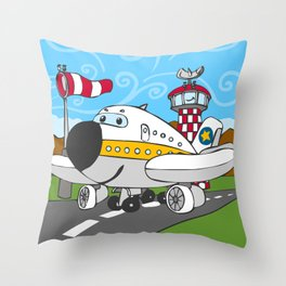 Funny Airplane Throw Pillow