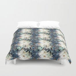 Happy Love Heart Family Pattern Blue Pastel Abstract Duvet Cover