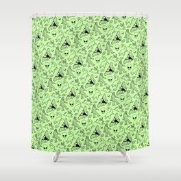 Cryptid Pattern Black On Green Shower Curtain