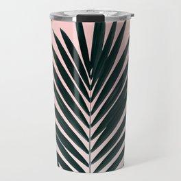 Tropical Green palm tree leaf blush pink gradient photography Travel Mug