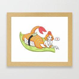 Sushi Mergirl Framed Art Print