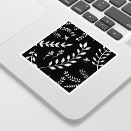 White Leaves Pattern #3 #drawing #decor #art #society6 Sticker