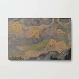 Wheat Field with Cypresses Detail Metal Print