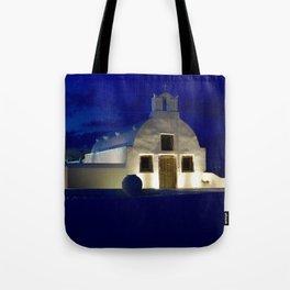 Santorini Chapel During Sunrise  Tote Bag