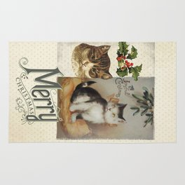 Merry Catmas vintage cat xmas illustration Rug