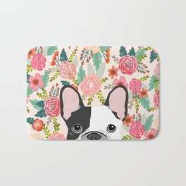 French Bulldog  floral dog head cute frenchies must have pure breed dog gifts Bath Mat