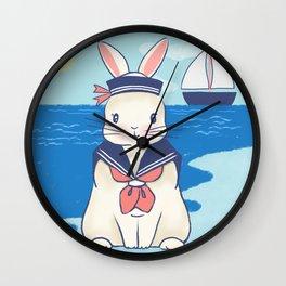 Sailor Bunny At The Beach Wall Clock