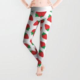 Cream Strawberries Pattern Leggings