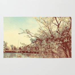 Hello Spring! (White Cherry Blossom by the Lake) Rug