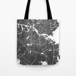 Amsterdam Gray on White Street Map Tote Bag