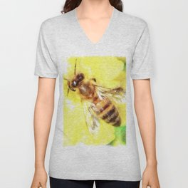 The Pollen Collector Honeybee Watercolor Unisex V-Neck