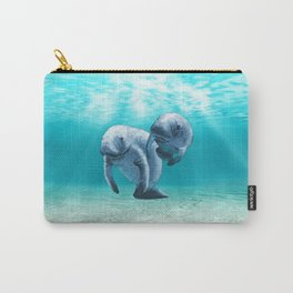 Two Manatees Swimming Carry-All Pouch