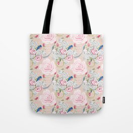 Watercolor Roses and Blush French Script Tote Bag