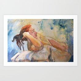 Reclining nude lady Art Print