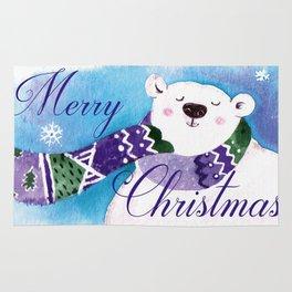 Merry Christmas Polar Bear Rug