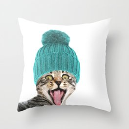Cat with hat illustration Throw Pillow
