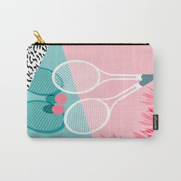 Sportin' - retro minimal pastel neon throwback memphis style pop art tennis sport court player Carry-All Pouch