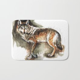 Totem Mexican Wolf ( Watercolor ) Bath Mat