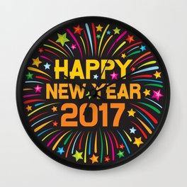 Happy new year 2017 firework Wall Clock