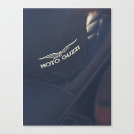 Moto Guzzi photo, helmet & motorbike, café racer, scrambler, bokeh, man cave stuff, motorcycle Canvas Print