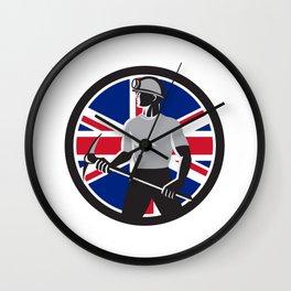 British Coal Miner Union Jack Flag Icon Wall Clock