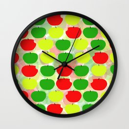 Summer Apple Picking Green, Red and Yellow Wall Clock