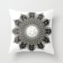 Astrology Signs Mandala Throw Pillow