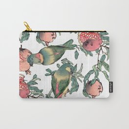 Pomegranate and Lovebirds Carry-All Pouch