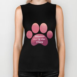 Warm puppy Paw for your Happiness - National Puppy Day Biker Tank
