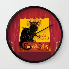 Le Chat D'Amour with Theatrical Curtain Border Wall Clock