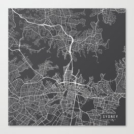 Sydney Map, Australia - Gray Canvas Print