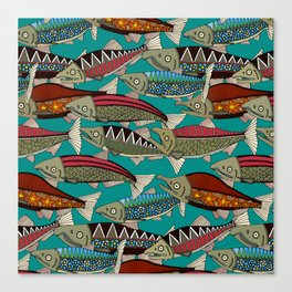 Alaskan salmon teal Canvas Print