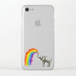 Baby Elephant Spraying Rainbow Whimsical Animals Clear iPhone Case