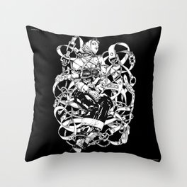 Lady in Belts Fantasy. Black Ink. Yury Fadeev. Throw Pillow