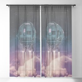 Out of the atmosphere / 3D render of spaceship rising above clouds Sheer Curtain