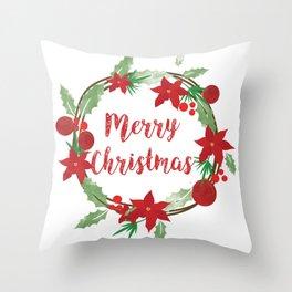 Lovely Merry Christmas Wreath Throw Pillow