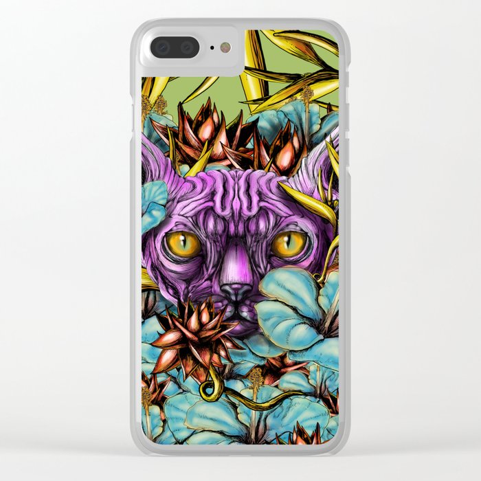 The Sphynx and the Flowers Clear iPhone Case
