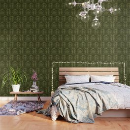 Olive Green Classic Acanthus Leaves Pattern Wallpaper