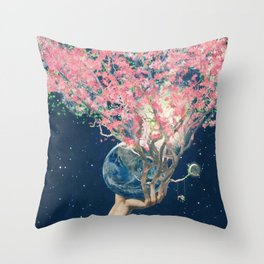 Love Makes The Earth Bloom Throw Pillow